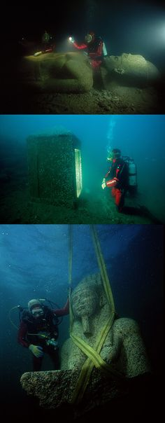 Finally, the lost Egyptian city of Heracleion has been revealed after spending 1,200-years under sea. Researchers discovered amazingly well-preserved artifacts 30-feet under the surface of the Mediterranean Sea in Aboukir Bay, near Alexandria. - http://www.icantbelieveit.org/