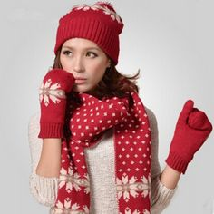 Snowflake knit hat scarf and gloves set for women winter wear