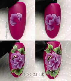 Shrink your URLs and get paid! Nails & Co, 3d Nails, Pink Nails, Acrylic Nails, One Stroke Nail Art, Uñas One Stroke, Nailart, Nails First, Flower Nail Art