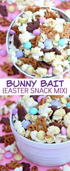 Bunny Bait (A Fun Easter Snack Mix) A fun and delicious recipe for Bunny Bait – the perfect Easter Snack Mix! Made with kettle corn popcorn, bunny pretzels, bunny graham crackers and pastel M&M's – you can't go wrong with this sweet and salty snack mix. Easter Snacks, Easter Appetizers, Easter Treats, Easter Recipes, Holiday Recipes, Easter Food, Easter Desserts, Dip Recipes, Healthy Recipes