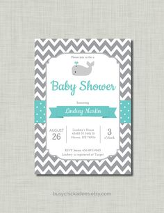 Gray, Teal Blue Whale Baby Shower Invitation with chevron  DIY printable pdf and jpeg files      This listing is for 5x7 printable invitation