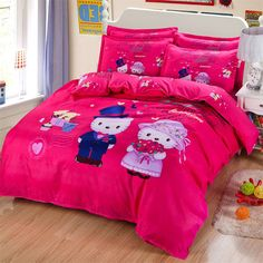 Find More Bedding Sets Information about Children Cute Cat red Single Twin Queen Size Sanding Bedding Set 3 4pcs Duvet Cover Sheet housse de couette Totoro cama bedding,High Quality bedding sheet sizes,China sheet set Suppliers, Cheap bedding for queen size bed from Top Qulity Human Hair Factory on Aliexpress.com