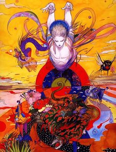Yoshitaka Amano, Birth of Seioh Arte Final Fantasy, Fantasy Kunst, Fantasy Art, Art And Illustration, Illustrations And Posters, Kunst Inspo, Art Inspo, Yoshitaka Amano, Anime Kunst
