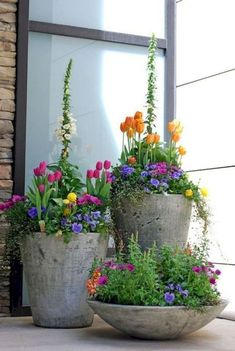 Garden containers - 90 Stunning Spring Garden Ideas for Front Yard and Backyard Landscaping – Garden containers Beautiful Flowers Garden, Beautiful Gardens, Pretty Flowers, Unique Gardens, Beautiful Beautiful, Small Front Yard Landscaping, Front Yard Gardens, Landscaping Design, Landscaping Shrubs