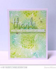 Floral Fantasy Background, Essential Sentiments Stamp Set, Thanks & Hello Die-namics - Donna Mikasa  #mftstamps