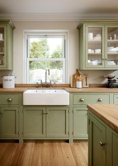 A farm kitchen cabinets that can be used as ideas for your home.A farm kitchen cabinets that can be used as ideas for your home. Kitchen Interior, Home Decor Kitchen, Kitchen Design Small, Kitchen Decor, Green Kitchen Cabinets, Home Kitchens, Kitchen Cabinet Colors, Kitchen Renovation, Kitchen Design