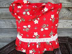 Red  and White Flowers Tote bag Cotton bag Grocery Reusable