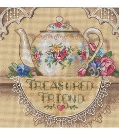Dimensions Gold Counted Cross Stitch Kit Petite Treasure Friend TeapotDimensions Gold Counted Cross Stitch Kit Petite Treasure Friend Teapot,