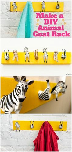 Perfect DIY coat rack for kids rooms, or just for fun.