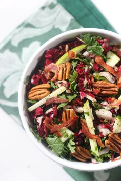 Fresh Winter Kale Salad with Radicchio, Pancetta and Pecans