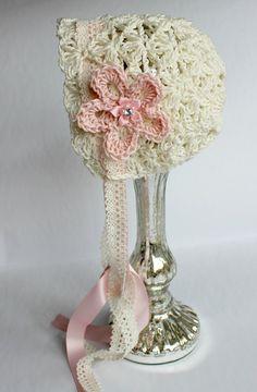Crocheted Lace Infant Bonnet Isabella  by MooseMouseCreations