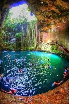 .Swam here. Chichen-Itza