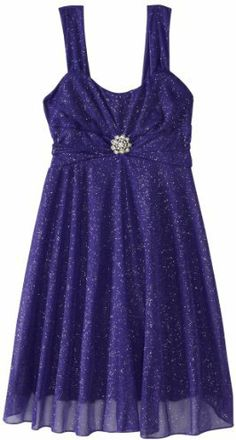 Ruby Rox Girls 7-16 Allover Sparkle Dress with Jewel At Waist on shopstyle.com
