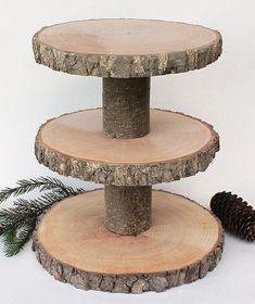 Ideas Wood Slice Monogram Cake Stands For 2019 Rustic Cupcake Stands, Rustic Cupcakes, Wooden Cake Stands, Rustic Cake, Rustic Wood, Wood Tiered Stand, Wood Badge, Monogram Cake, Rustic Centerpieces