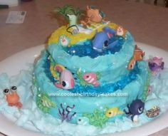 Homemade Littlest Pet Shop Cake  - A Day at the Beach: My daughter is a huge LPS fan so it was only logical that we would make (yet another) Littlest Pet Shop Cake  - A Day at the Beach  for her birthday.