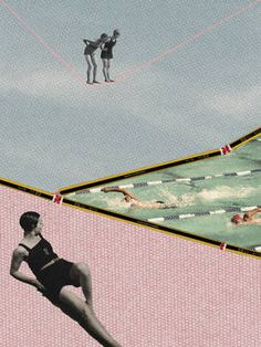 "Saatchi Art Artist Jaume Serra Cantallops; Collage, ""Let's Swim! Limited Edition Print 2 of 10"" #art"