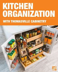 So many options for kitchen storage! Thomasville innovative cabinet solutions can help keep your most-used items right at hand and kick pantry clutter out of your life for good. Click to find great ideas on how to add style and organization to your kitchen renovation with special order cabinets.