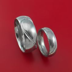 Matching Damascus Steel Heart Carved Ring Set with PALLADIUM