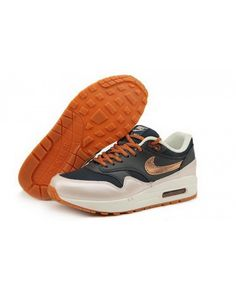 hot sale online 4512e 7ec24 Women s Nike Air Max 1 Premium Running Shoes Armory Navy Rugged  Orange Metallic Luster