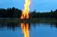 Midsummer bonfire 2015 in the middle of the night