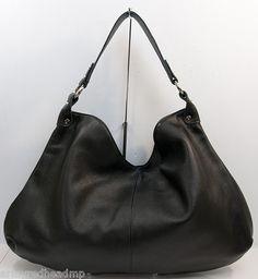 New $520 Onna Ehrlich Black Renee Large PEBBLED Leather Hobo Shoulder Bag Purse   eBay