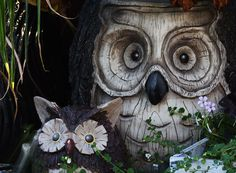 #owl #garden #decoration  My garden owls - bought them from Fred Meyers