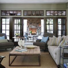 Traditional Family Room Olive Green Couches Design, Pictures, Remodel, Decor and Ideas - page 3