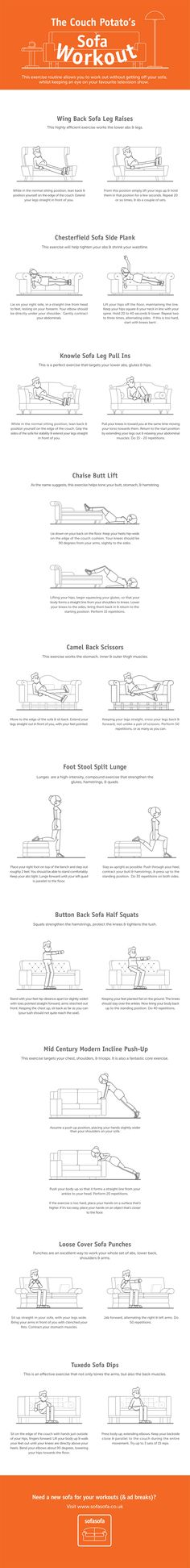 The Couch Potato's Sofa Workout contains 10 simple exercises you can complete in 30 minutes or less, for a full-body workout. This is no gimmick routine either. These are proper gym exercises translated from the workout bench to the couch. So put down the remote control and packet of crisps for a second and give it a go - even if it's just during that lame toothpaste commercial you've seen 100 times... #infographic