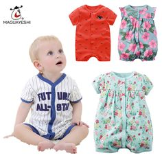 Summer Brand Baby Girl Clothes Kids Jumpsuits Infant Boy Body Suit Clothing Roupas Bebes Cotton Short Sleeve Baby Rompers