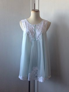 60s Nightgown / Vintage Baby Doll Gown / 2 Layer Lingerie. 28.00, via Etsy.
