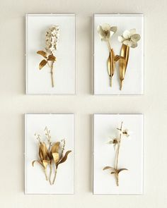 Tommy Mitchell Gilded Flower Studies in Acrylic - metal floral sculptures mounted on linen and hung in acrylic boxes. Shown clockwise from top left: Gilded Lilac; Gilded Lily of the Valley. Acrylic Wall Art, Acrylic Box, Diy Wall Art, Wall Art Decor, Flower Studio, Creation Deco, Lily Of The Valley, Shadow Box, Artwork