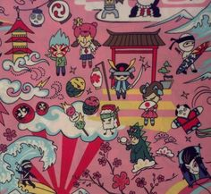 Bright Bold  Pink Asian Style Pop Art Anime Kawaii Characters Custom Minky Baby Blanket