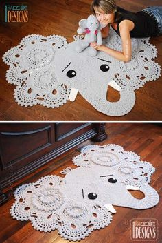 Crochet Elephant Rug. Look This Cute! I'm so into it. Perfect in your little ones' room.