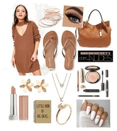 """""""Brownnnnnnnnn💝"""" by tinathequeen ❤ liked on Polyvore featuring Michael Kors, Aéropostale, Missguided, Red Camel, Charlotte Russe, ASOS, Maybelline and Shay"""