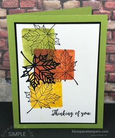 How to use clear blocks to create a color blocking background. Quick & easy card using Colorful Seasons stamp set from Stampin' Up!