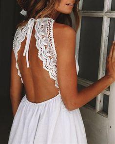 New white lace casual V neck elegant strap sexy short flare dress spring summer Boho Mini Dress, Halter Mini Dress, Ruffle Dress, White Sundress, Lace Skirt, Vestidos Retro, Lace Summer Dresses, Beach Dresses, Dress Summer