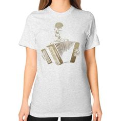 The Piano Accordion Blues Unisex T-Shirt (on woman)