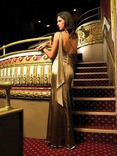 2012 Style Sheath / Column One Shoulder Ruffles  Sleeveless Floor-length Elastic Woven Satin Gold Prom Dress / Evening Dress (SZ0253686 )
