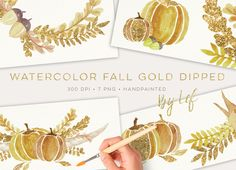 Fall Gold Dipped Watercolor Graphics by By Lef on @creativemarket