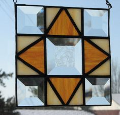 Stained glass quilt square by Barbara's Glassworks