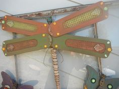 Wood Dragon Fly from antique table leg and by HennyPennyPrimitives, $30.00