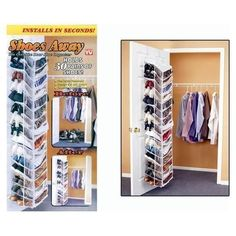 Shoes Away Hanging Organizer Organize 30 Pairs Space Closet TV Holder Over Door in Home & Garden   eBay