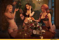 Witcher 3 sorceress party -- Lyumos as Keira Metz Asami as Triss Merigold Vvedenskaya as Yennefer of Vengerberg Witcher 3 Art, The Witcher Game, The Witcher Wild Hunt, 3d Fantasy, Dark Fantasy, Triss Merigold Witcher 3, Ciri, Triss Merigold Cosplay, Witcher Wallpaper