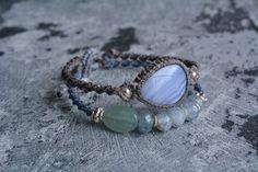 Macrame bracelet macrame jewelry Blue lace by EarthCraftHandmade