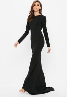 Black Open Back Maxi Dress. Order today & shop it like it's hot at Missguided. Blue Homecoming Dresses, Black Bridesmaid Dresses, Formal Dresses For Weddings, Event Dresses, Dress Formal, Formal Gowns, Open Back Maxi Dress, The Dress, Black Tie Attire