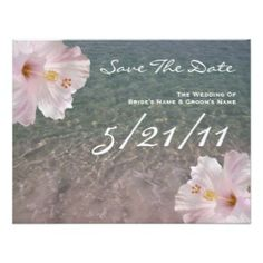 coral and gray save the date cards | Tropical Beach Wedding Hibiscus Save The Date Custom Invitation