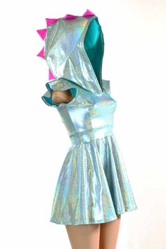 Seafoam Holographic & Neon Pink Spiked Dragon Hoodie DRESS with Flip Sleeves White Sparkly Dress, White Dress With Sleeves, Dresses With Sleeves, Sparkly Dresses, Neon Pink Dresses, Summer Dresses, Holographic Dress, Dinosaur Dress, Dragon Hoodie