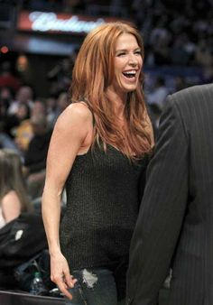 Actress Poppy Montgomery attends the Denver Nuggets against Los Angeles Lakers Game 2 of their NBA Western Conference quarter-final playoff basketball game in Los Angeles, California.