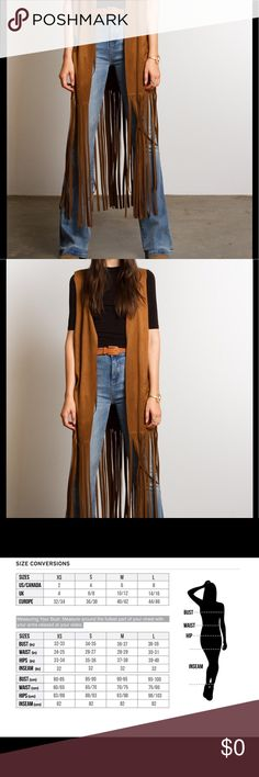 🆕 Boho Ethnic Tribal Long Fringed Vest Jacket A great staple for any closet that has a love for the bohemian look. This camel colored long Fringed vest is ready to make your outfit complete! It can be worn with jeans, shorts, or a dress! Love it! And available in a variety of sizes🤗 Vegan Boho Chic Vest, Cover Up. Fun fashionable Sleeveless jacket with a laser cut design on back. A great item that can be worn year around. Made out of 95% polyester 5% Spandex. 080120171675561 Jackets…