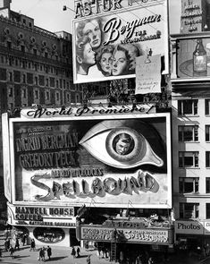 "Billboard and marquee for the world premiere of Alfred Hitchcock's ""Spellbound,"" The Astor Theatre St. and Broadway), Oct. Courtesy of Photofest, Inc. Hollywood Music, Old Hollywood Movies, Classic Hollywood, School Pictures, Old Pictures, School Pics, Vintage Signs, Vintage Images, Vintage New York"